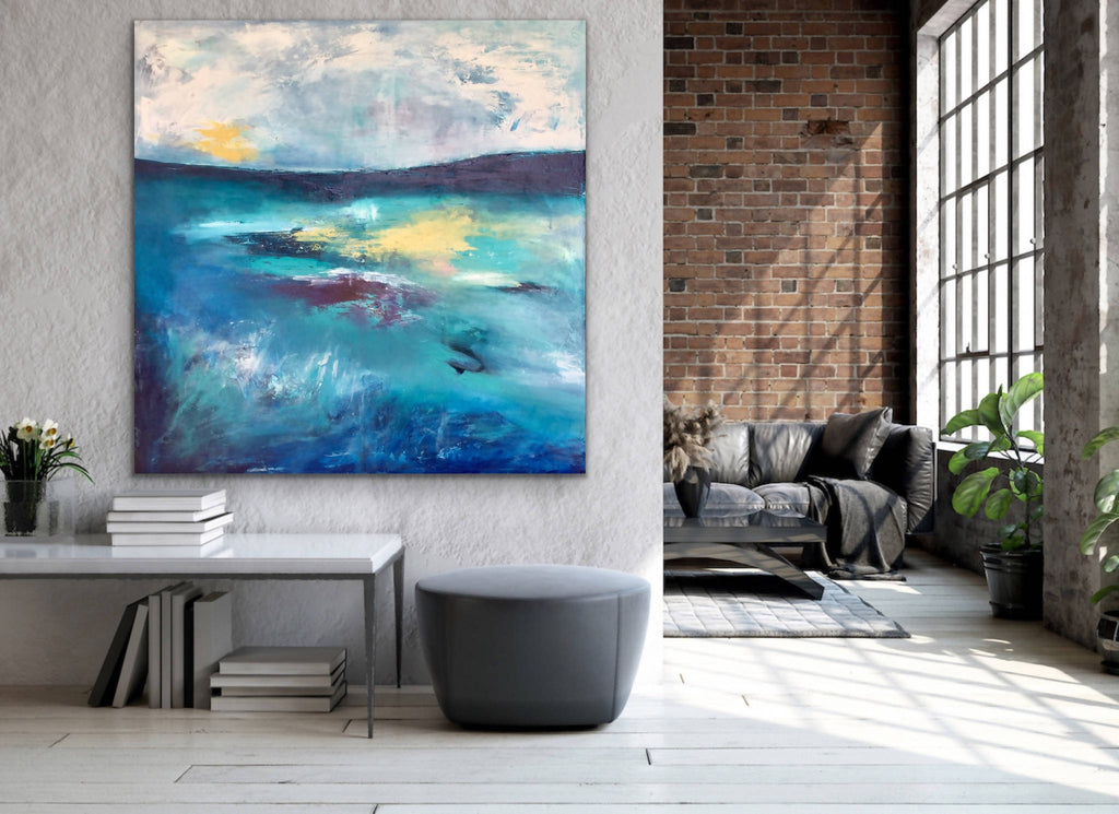 Starlight - large abstract landscape (SOLD), Acrylic Painting by Emma Wreyford Artist