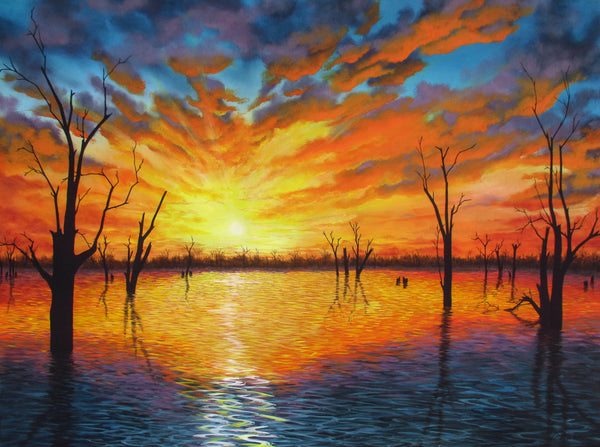 Sunset over Lake Victoria, Acrylic Painting by Debra Dickson Artist
