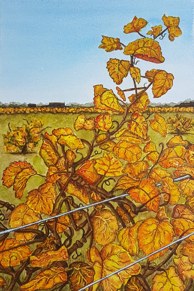 A Golden Vintage, Mixed Media Painting by Debbie Brophy Artist