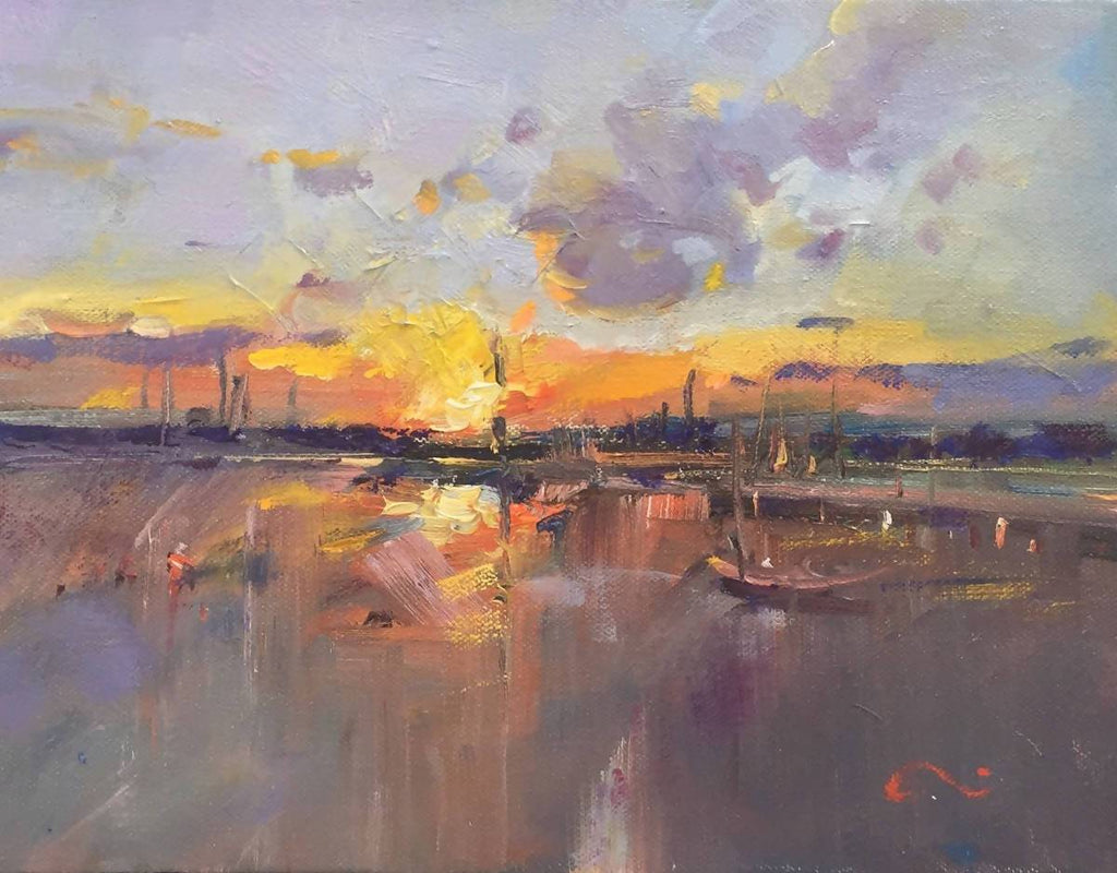 Days End at Brighton Beach (Framed), Oil Painting by Li Zhou Artist