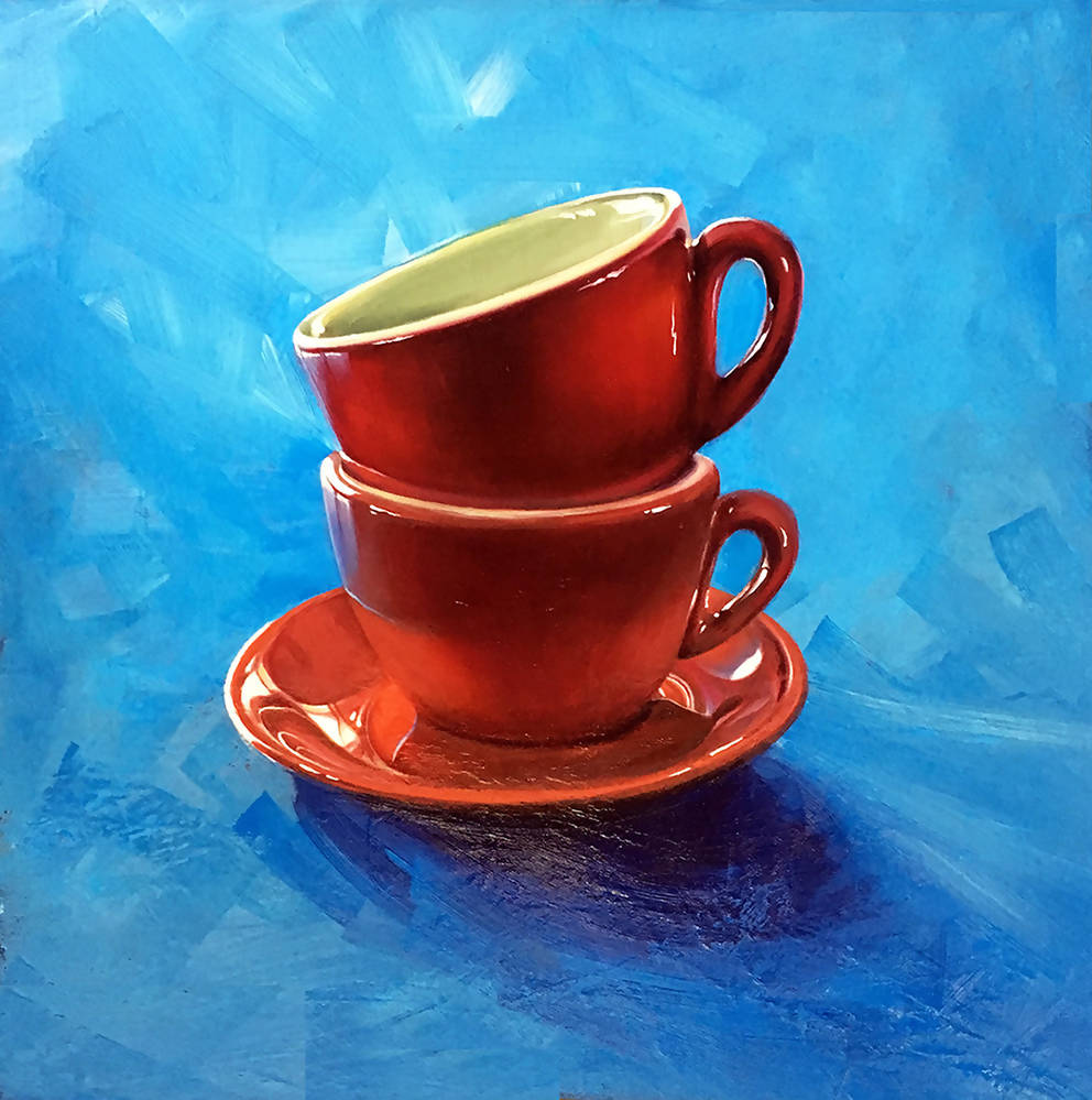 Tea For Two, Oil Painting by David Clare Artist