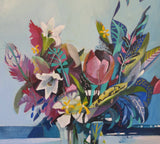 Abstract Still Life - Tulip with Lillies, Acrylic Painting by Susan Trudinger Artist
