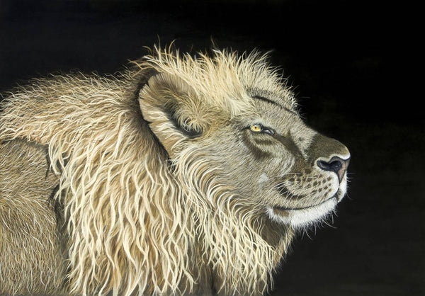 Aslan the Lion -Original Painting, Mixed Media Painting by Johanna Larkin Artist