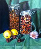 OLIVES, ZIZYPHUS AND ORANGES, Oil Painting by maureen finck Artist
