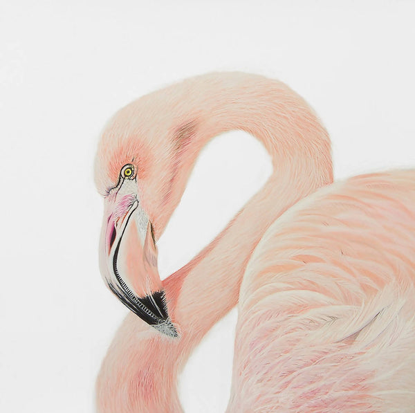 Pretty In Pink - Flamingo - Original Painting, Mixed Media Painting by Johanna Larkin Artist