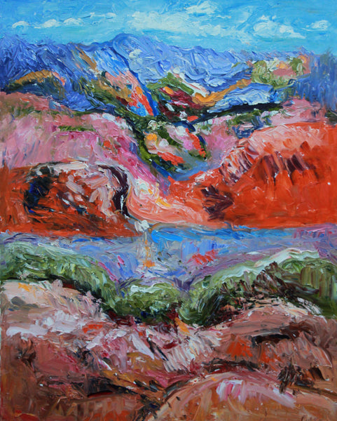 SANTA FE MOUNTAINS, NEW MEXICO, Oil Painting by maureen finck Artist