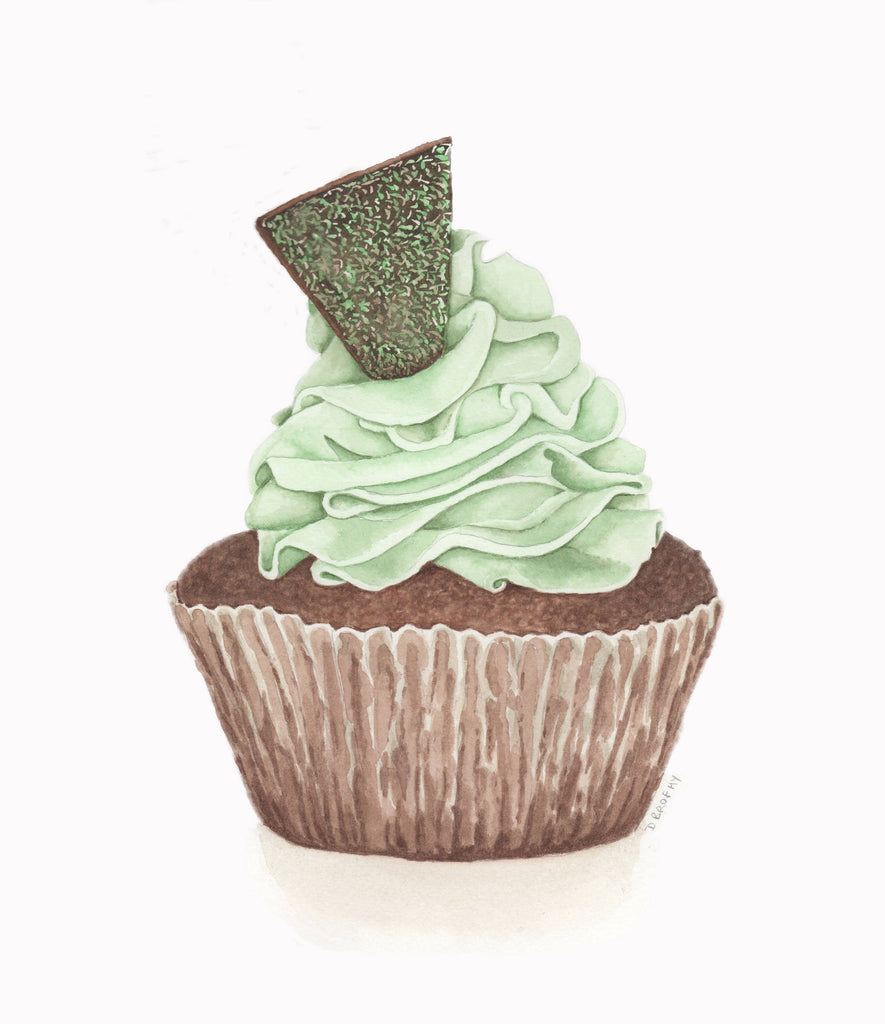 Choc Mint Cupcake, Watercolour Painting by Debbie Brophy Artist