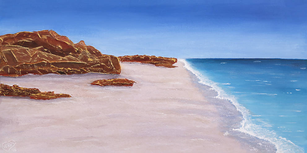 Pure Shores, Acrylic Painting by Kerry Sandhu Artist