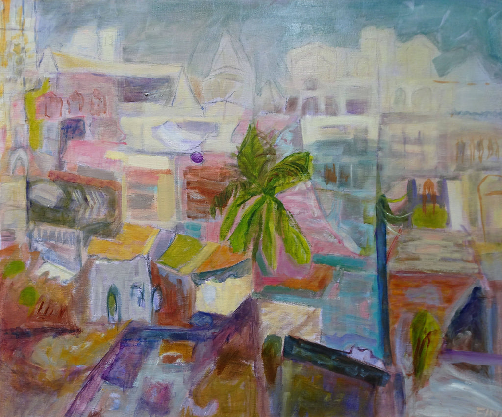 VIEW FROM A WINDOW - VARANASI, INDIA, Oil Painting by maureen finck Artist