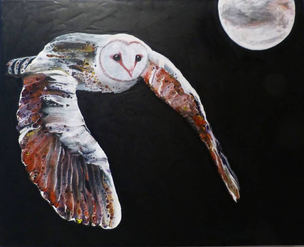 Barn Owl, Acrylic Painting by Clare Riddington Jones Artist