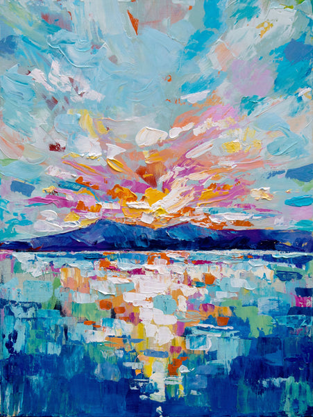 Sky Lights - Abstract Landscape Painting, Acrylic Painting by Eve Izzett Artist