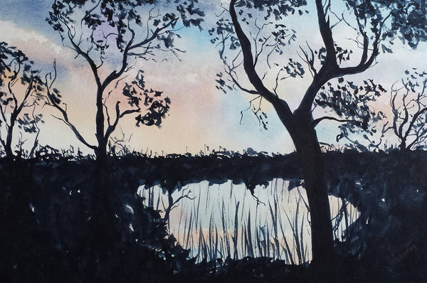 Evening On The Murray, Watercolour Painting by Debbie Brophy Artist