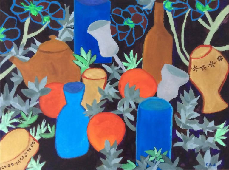 The Blue Vase, Acrylic Painting by Kathy Best Artist