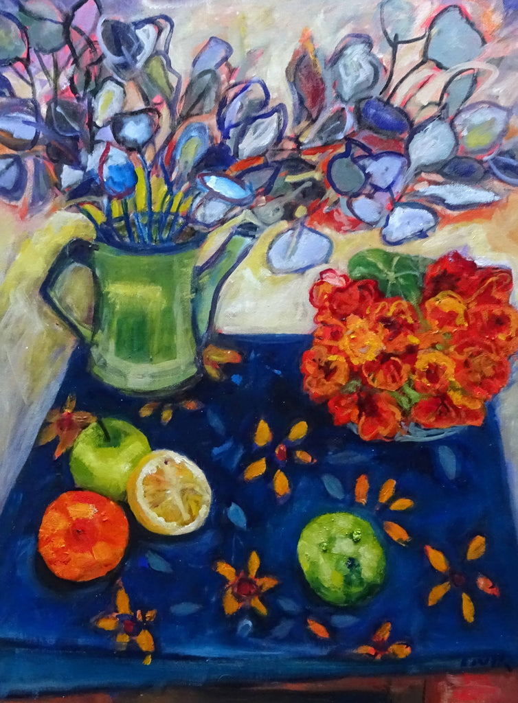 STILL LIFE WITH NASTURTIUMS AND FRUIT, Oil Painting by maureen finck Artist