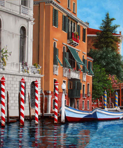 The Red Posts, Venice, Limited edition giclee print, Limited Edition Print by Debra Dickson Artist
