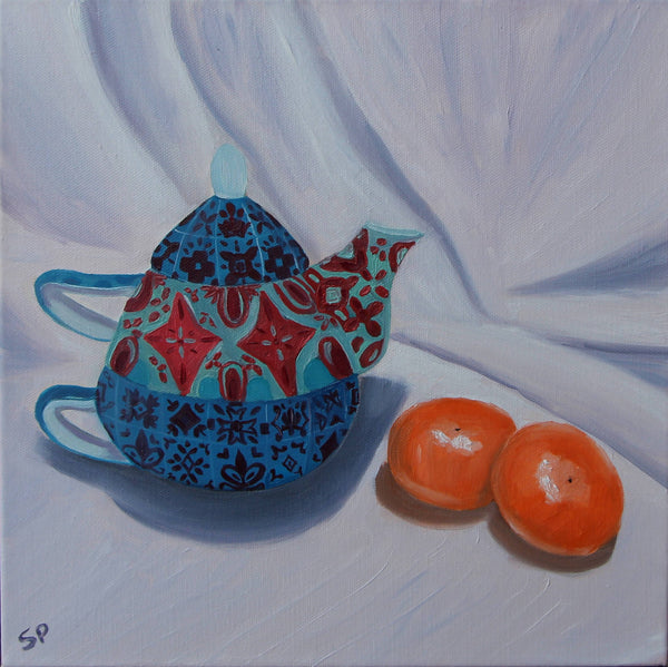 A moment for Tea, Oil Painting by Sudha Palani Artist