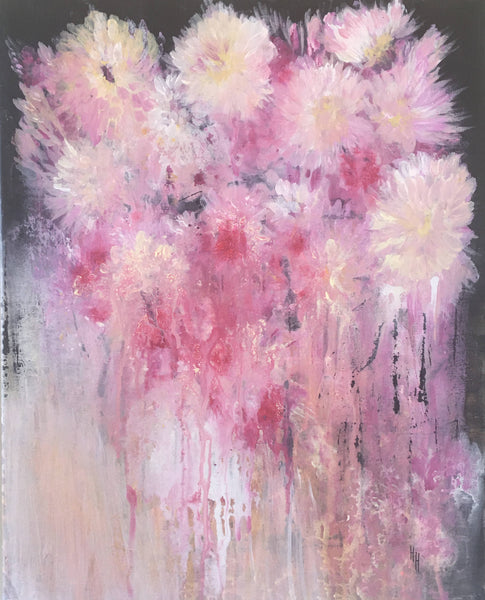 Carnations, Acrylic Painting by Helene hardy Artist