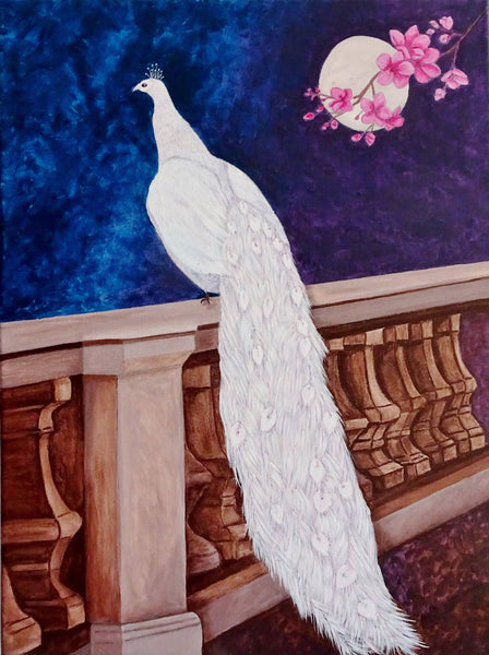 White Peacock in the Garden, Acrylic Painting by Julie-Anne Gatehouse Amazing Corn Art Studio Artist