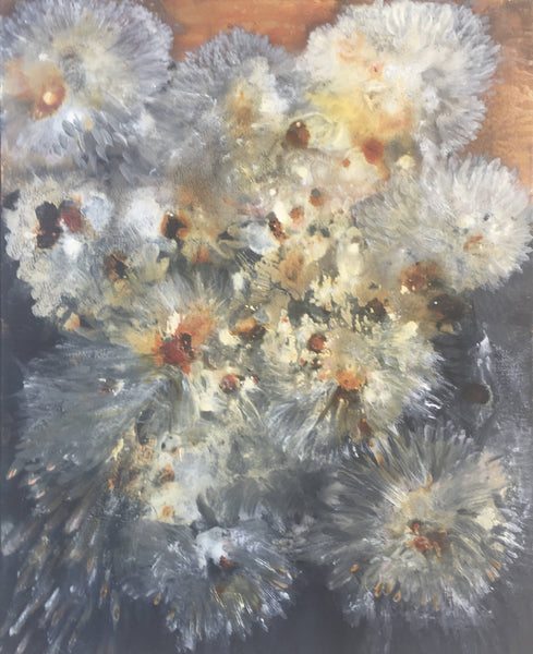 A Bunch of Chrysants,, Acrylic Painting by Helene hardy Artist