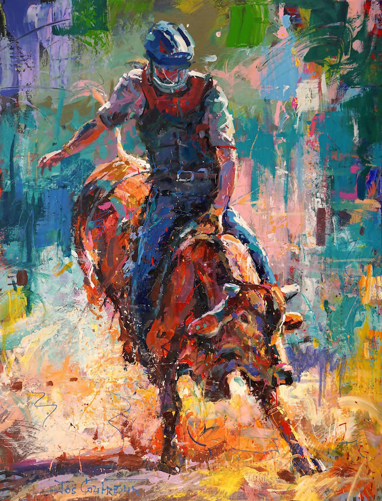 8 Second Bull Ride, Acrylic Painting by Jos Coufreur Artist