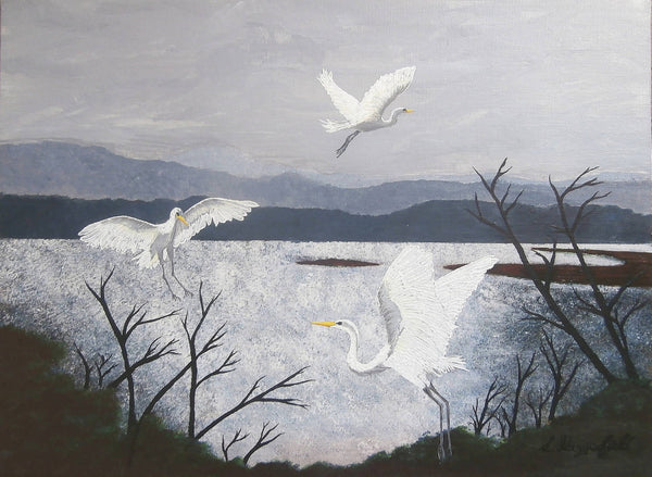 Great Egrets, Acrylic Painting by Lisa Dangerfield Artist