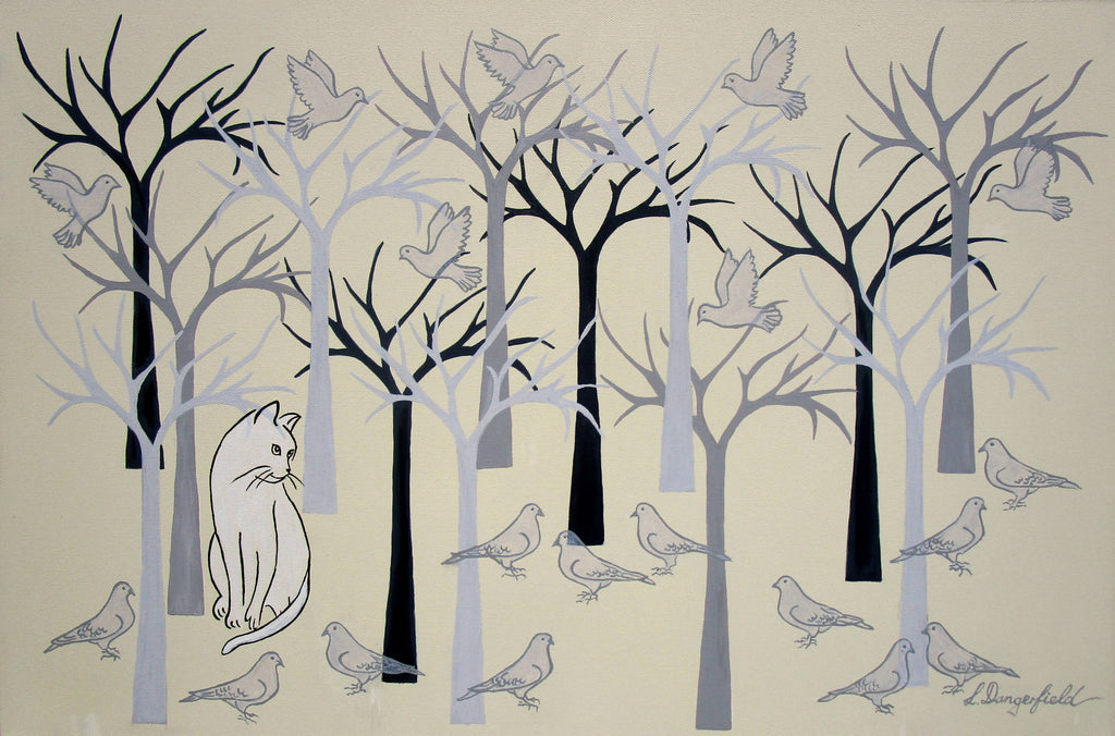 Cat Among The Pigeons, Acrylic Painting by Lisa Dangerfield Artist