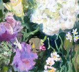PURPLE AND WHITE FLOWERS, Oil Painting by maureen finck Artist