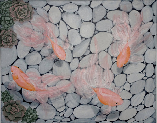 The Rock Pool, Acrylic Painting by Julie-Anne Gatehouse Amazing Corn Art Studio Artist