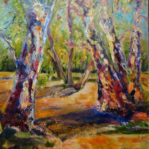 RED RIVER GUMS - EUCALYPTUS CAMALDULENSIS, Oil Painting by maureen finck Artist