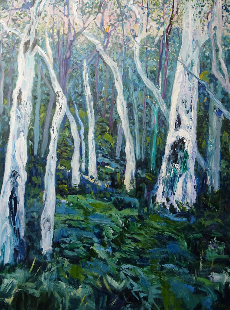 GUM TREES, NORTON SUMMIT 1, Oil Painting by maureen finck Artist
