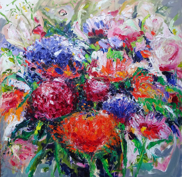 MOTHERS' DAY FLOWERS, Oil Painting by maureen finck Artist