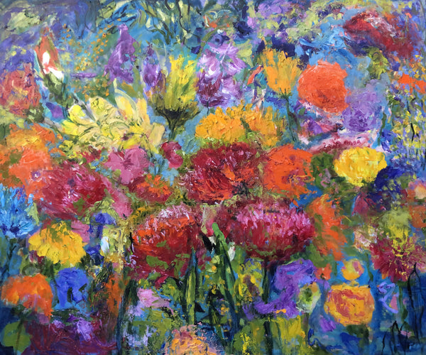 AL KINDS OF FLOWERS, Oil Painting by maureen finck Artist