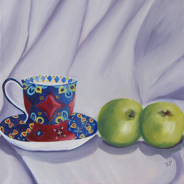 Amoment for Tea III, Oil Painting by Sudha Palani Artist