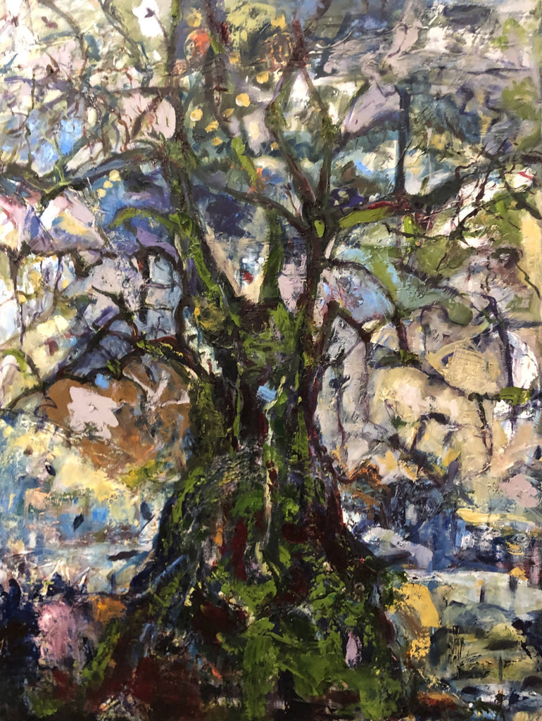 THE OLIVE TREE, Oil Painting by maureen finck Artist