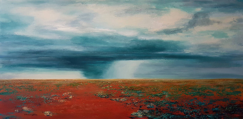 Storm on the Horizon, Mixed Media Painting by Clare Riddington Jones Artist
