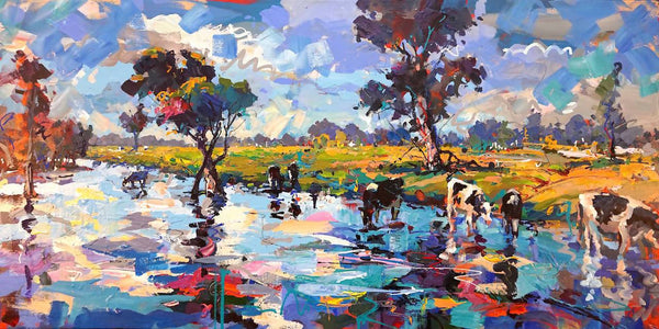 Cows in Stream -SOLD-, Acrylic Painting by Jos Coufreur Artist
