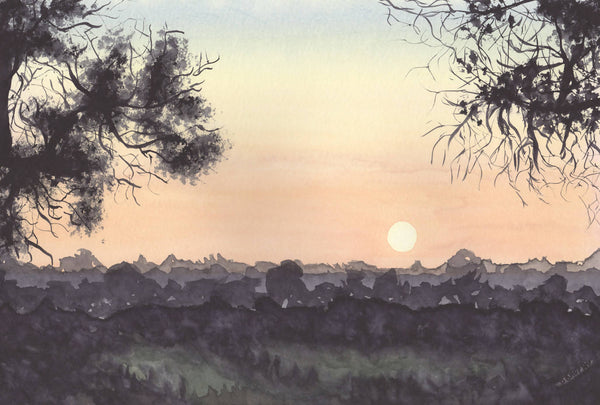 Sunset View, Watercolour Painting by Debbie Brophy Artist