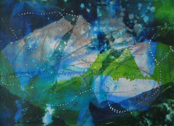 Expressionist Water Lilies, Mixed Media Painting by Clare Riddington Jones Artist