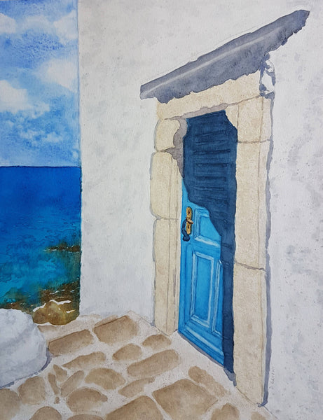 Door To The Sea (Mykonos), Watercolour Painting by Debbie Brophy Artist