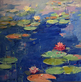 Water Lily VII (framed), Oil Painting by Li Zhou Artist