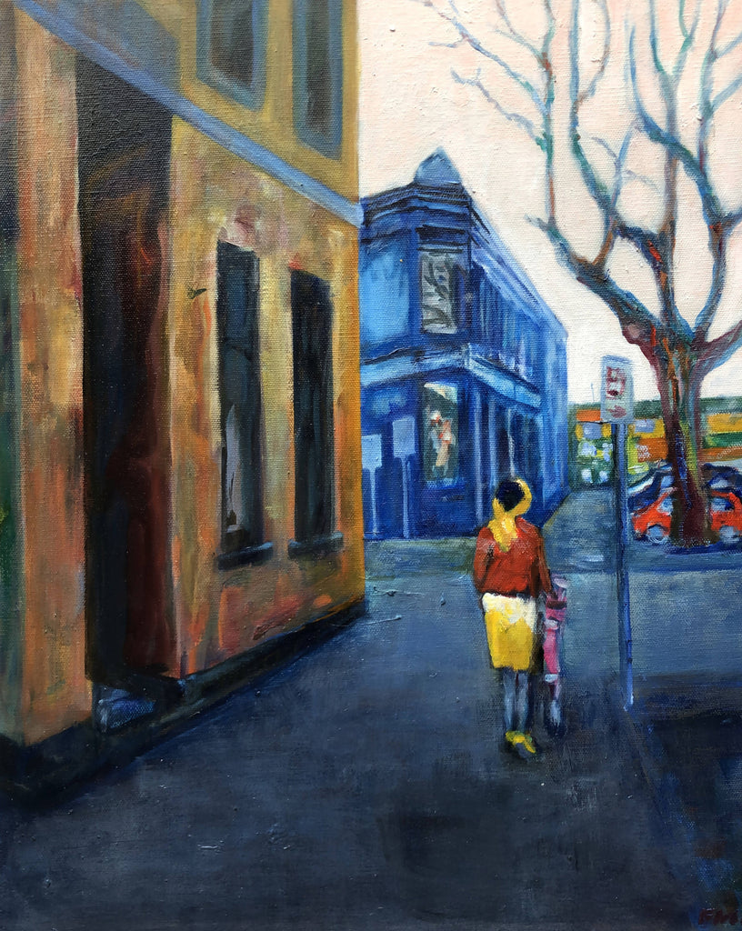 MELBOURNE - THE INNER CITY, Oil Painting by maureen finck Artist
