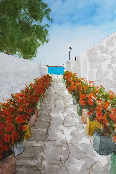 To The Sea (Mykonos), Watercolour Painting by Debbie Brophy Artist