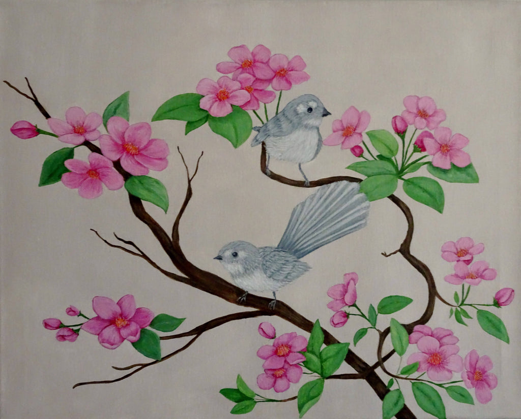 Grey Fantails with Pink Flowers, Acrylic Painting by Julie-Anne Gatehouse Amazing Corn Art Studio Artist