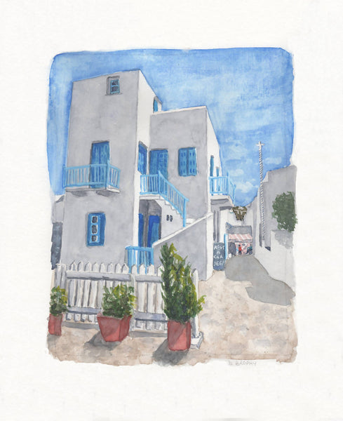 Mykonos Laneway, Watercolour Painting by Debbie Brophy Artist