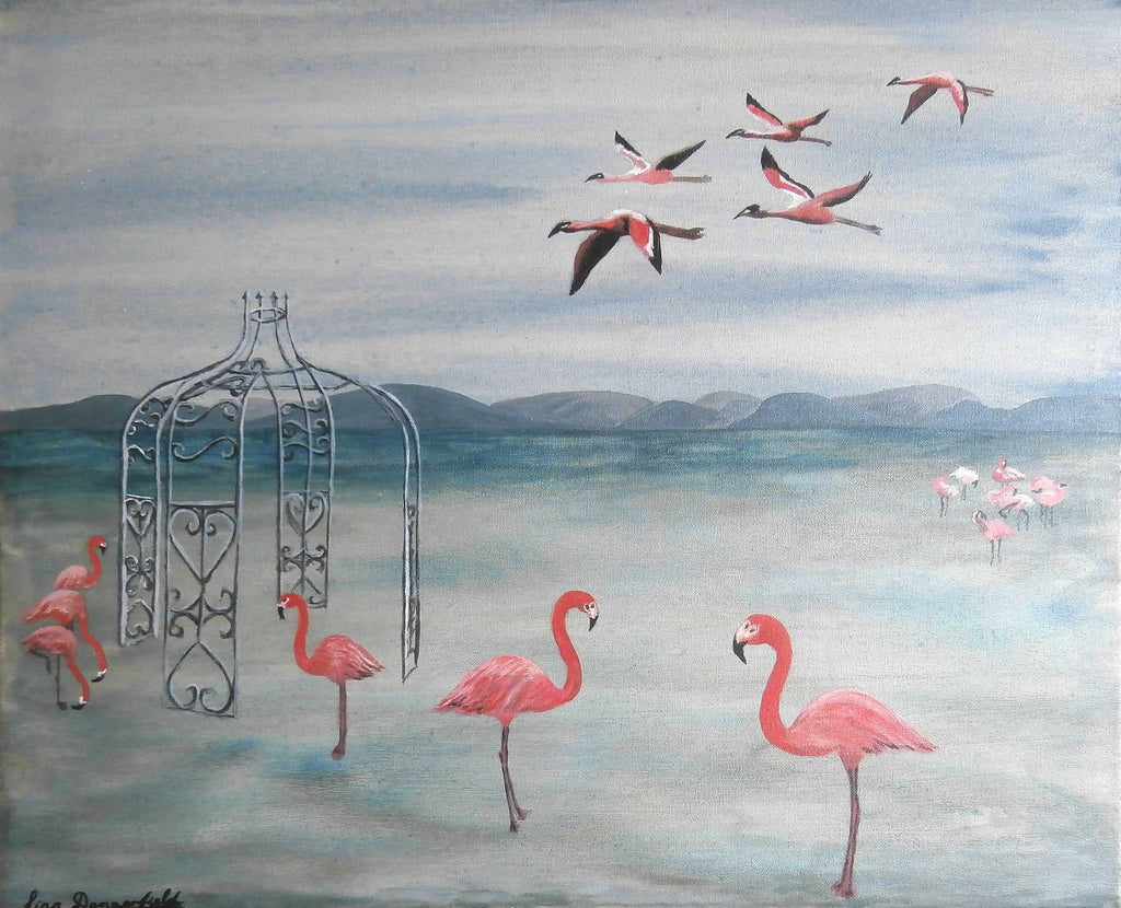 Flamingo Folly, Acrylic Painting by Lisa Dangerfield Artist