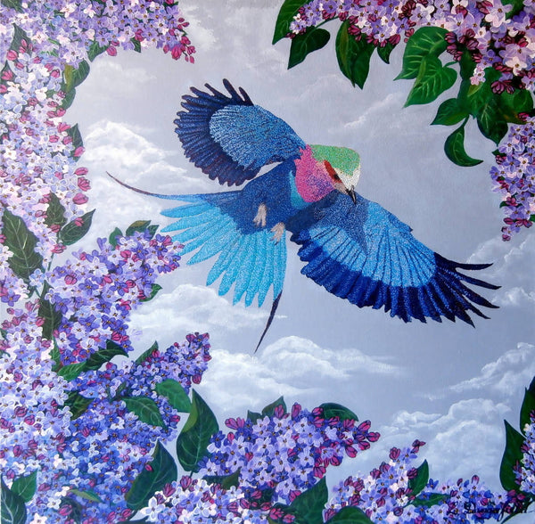 Lilac Breasted Roller, Acrylic Painting by Lisa Dangerfield Artist