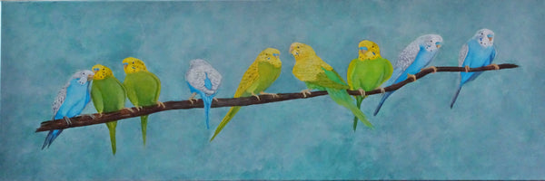 Having a Chat, Acrylic Painting by Julie-Anne Gatehouse Amazing Corn Art Studio Artist