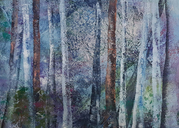 Beyond the Trees, Mixed Media Painting by Clare Riddington Jones Artist