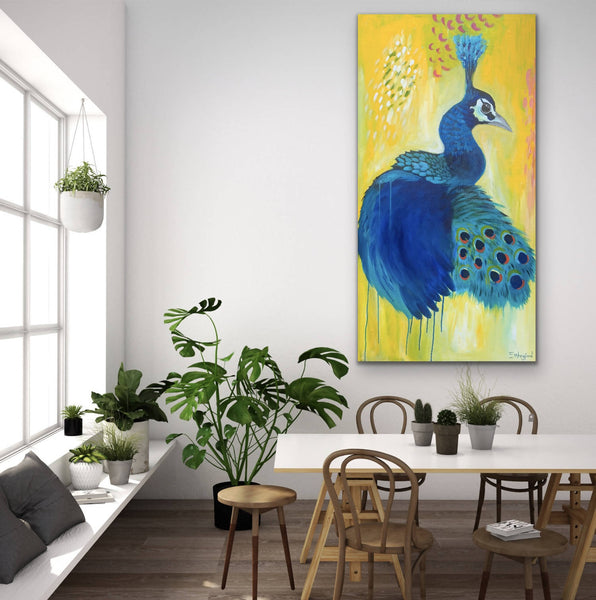 Peacock in Abstract, Acrylic Painting by Emma Wreyford Artist