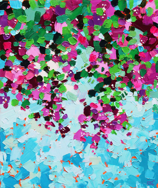 Bougainvillea - Abstract Oil Painting, Oil Painting by Eve Izzett Artist